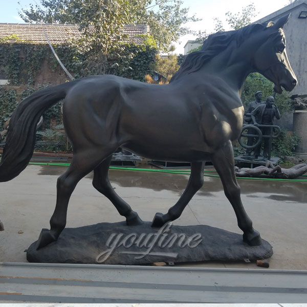 outside metal craft life size foal bronze black horse sculptures for sale