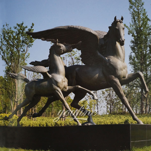 Bronze winged race horse sculptures with little poney statues for sale