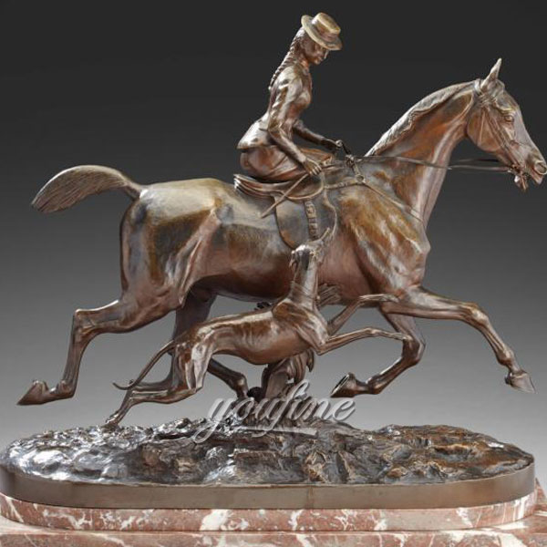 Classic Hot Casting bronze woman riding horse statues with dog figurines for sale