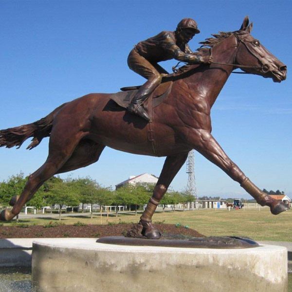 High Quality Bronze Race Horse Sculptures with riding man statues for sale