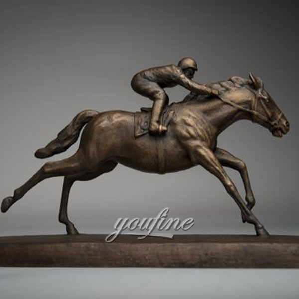 Metal art bronze race horse and jockey sculptures figurines for sale