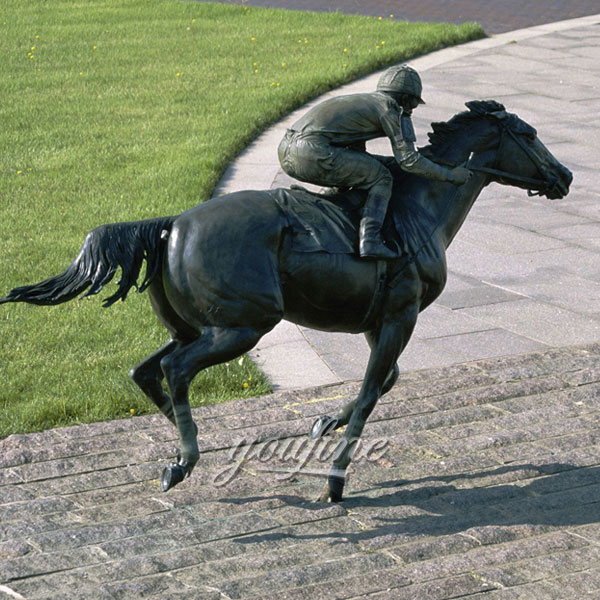 Outdoor life size bronze race horse and jockey sculptures for sale