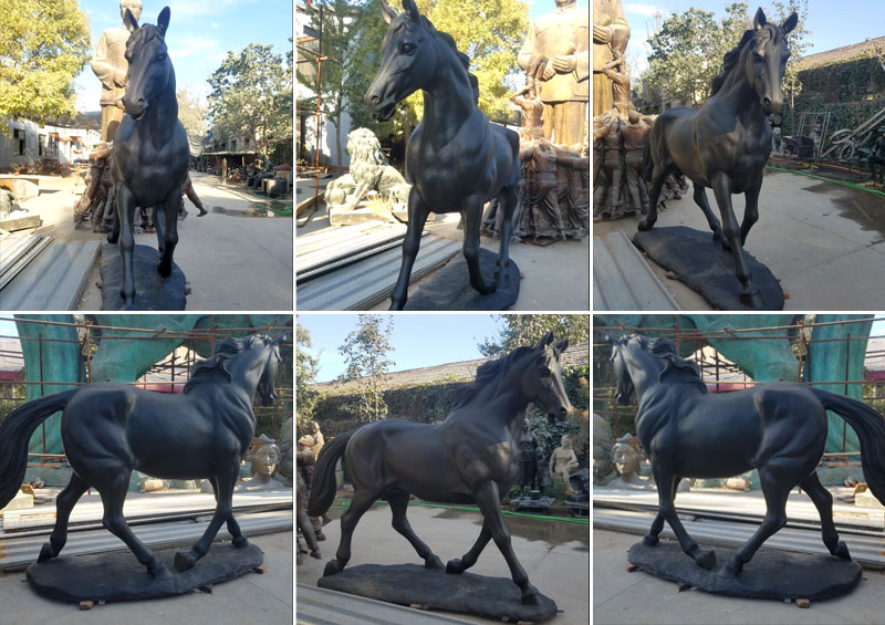Outdoor race horse bronze statues