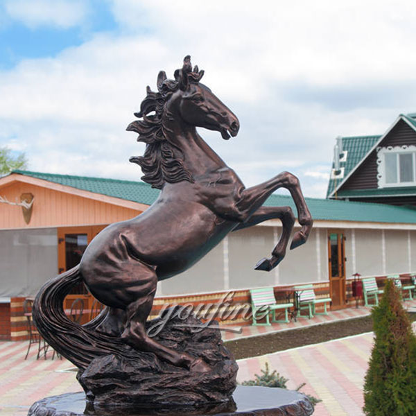 outdoor garden decoration metal bronze roaring horse statues jumping for sale